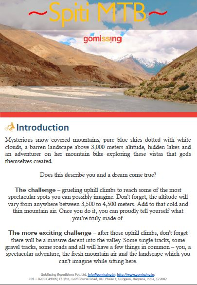 Spiti Cycling Brochure
